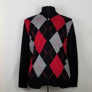 INC International Concepts Full Zip Sweater Sz M